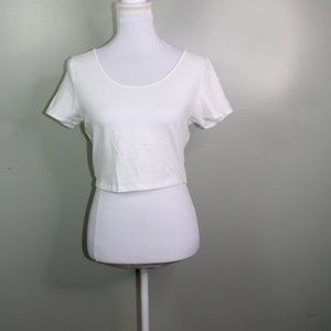 charlotte russe women crop top  size large white